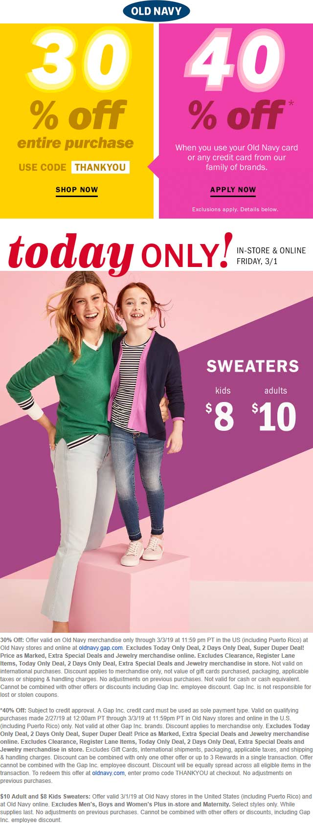 Old Navy Coupon July 2019 30% off at Old Navy, or online via promo code THANKYOU