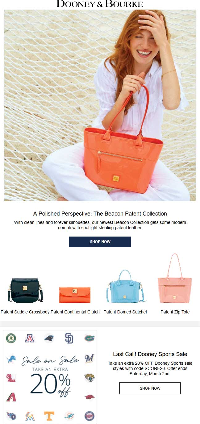 Dooney & Bourke Coupon August 2019 Extra 20% off sports today at Dooney & Bourke, or online via promo code SCORE20