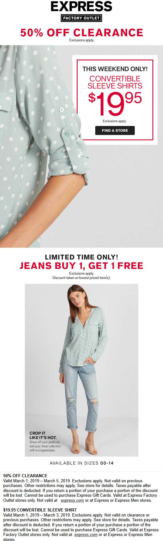 Express Factory Outlet Coupon September 2019 Extra 50% off clearance at Express Factory Outlet