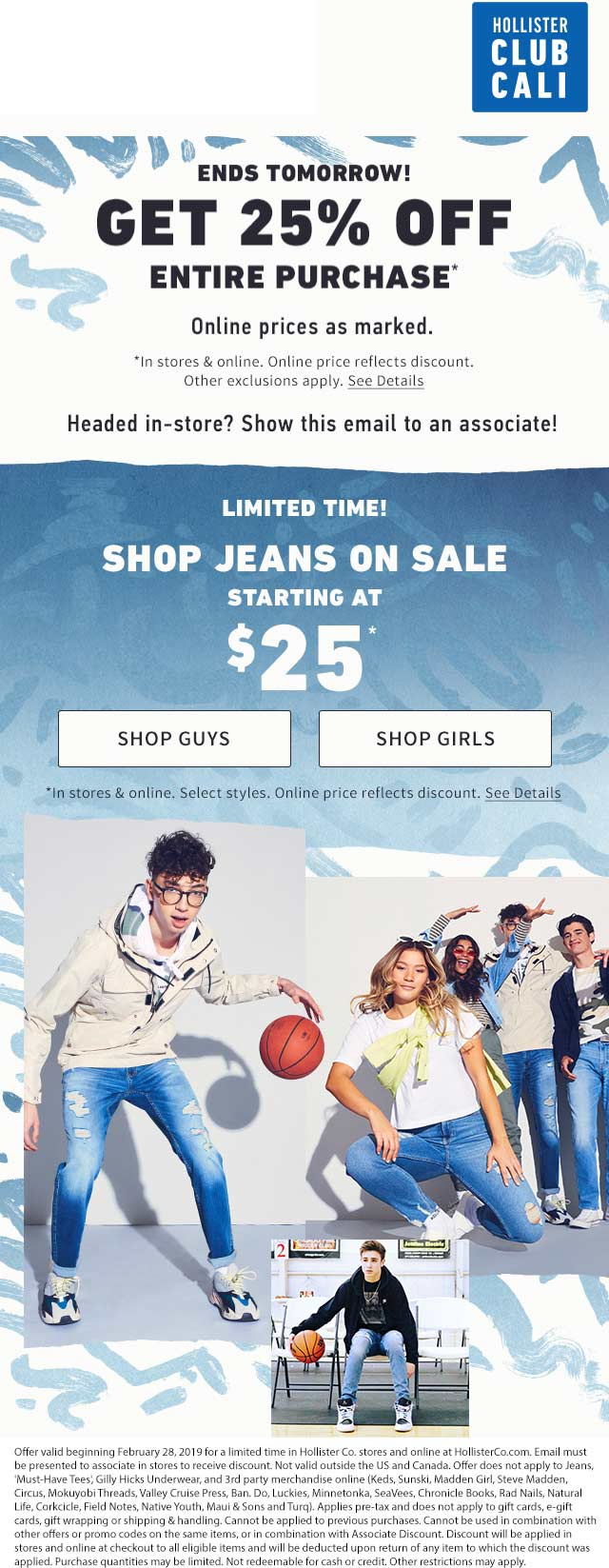 Hollister.com Promo Coupon 25% off at Hollister, ditto online