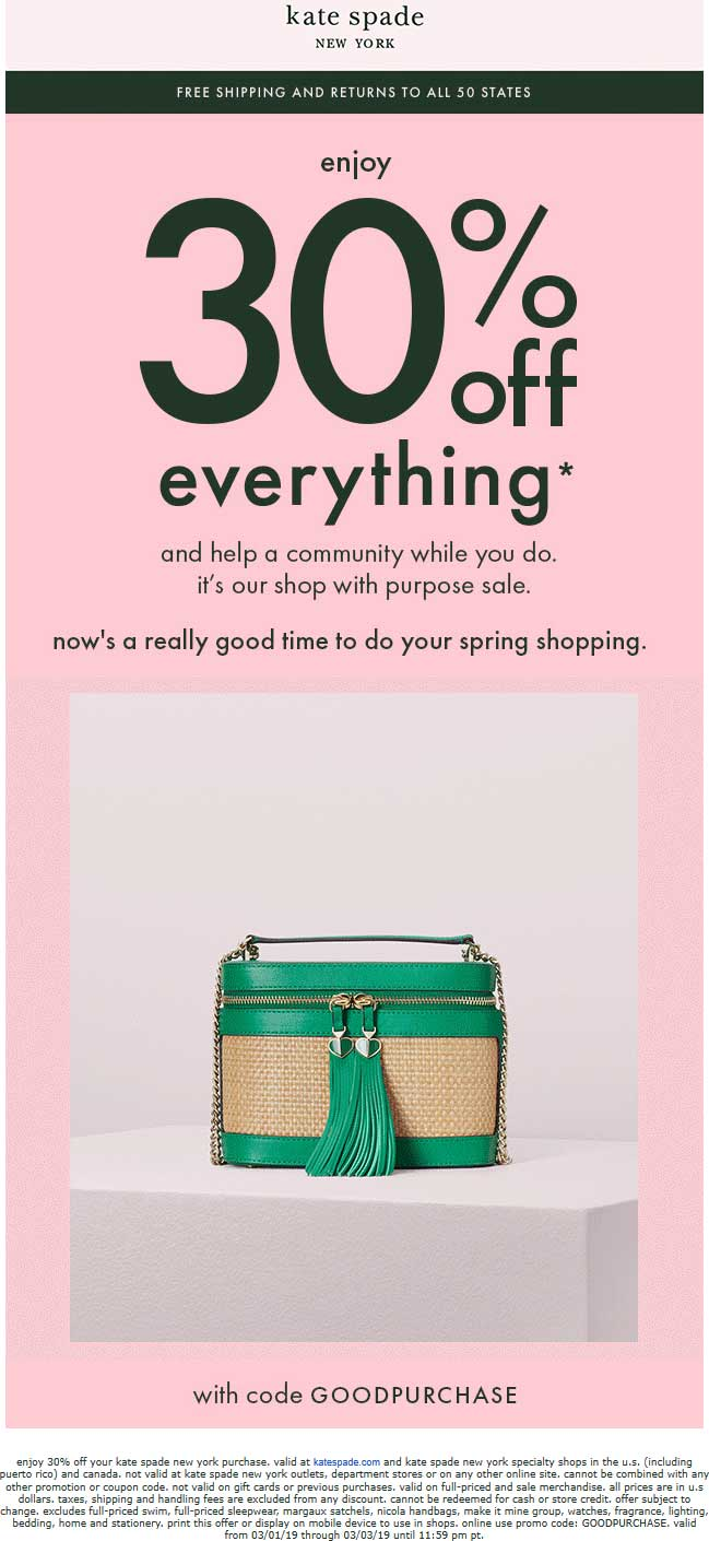 Kate Spade Coupon January 2020 30% off everything at Kate Spade, or online via promo code GOODPURCHASE