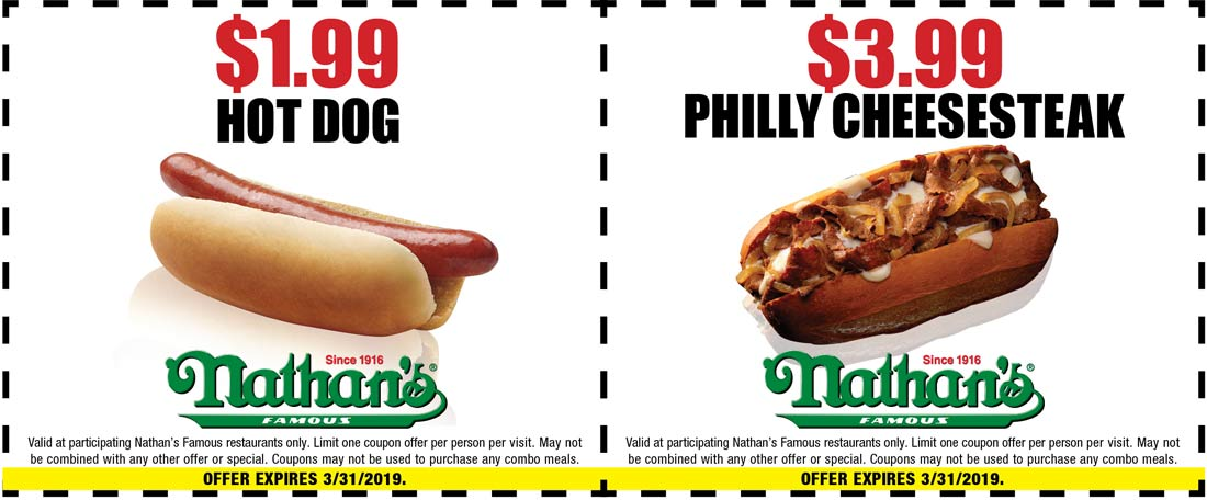 Nathans Famous Coupon July 2019 $2 hot dogs at Nathans Famous restaurants