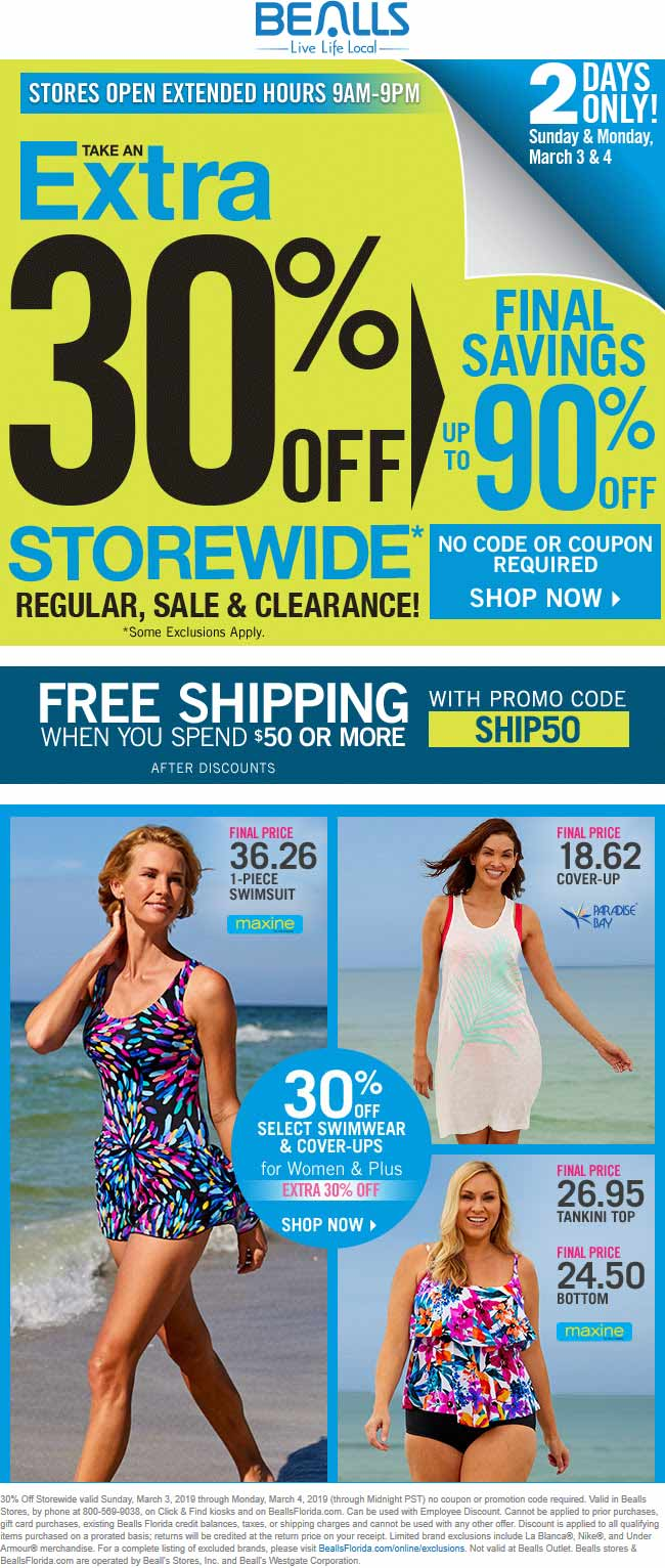 Bealls.com Promo Coupon 30% off everything at Bealls, or online with free ship over $50 via promo code SHIP50