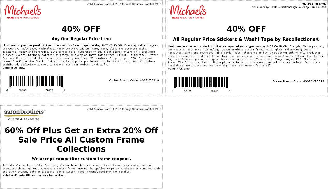 Michaels Coupon October 2019 40% off a single item at Michaels, or online via promo code 40SAVE3319