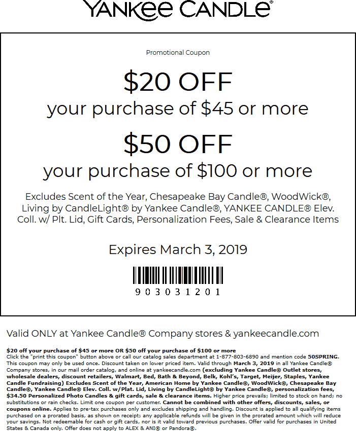 Yankee Candle Coupon August 2019 $20 off $45 & more at Yankee Candle, or online via promo code 50SPRING