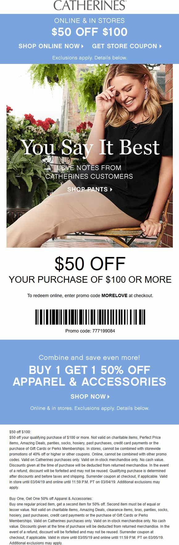 Catherines Coupon May 2019 $50 off $100 today at Catherines, or online via promo code MORELOVE