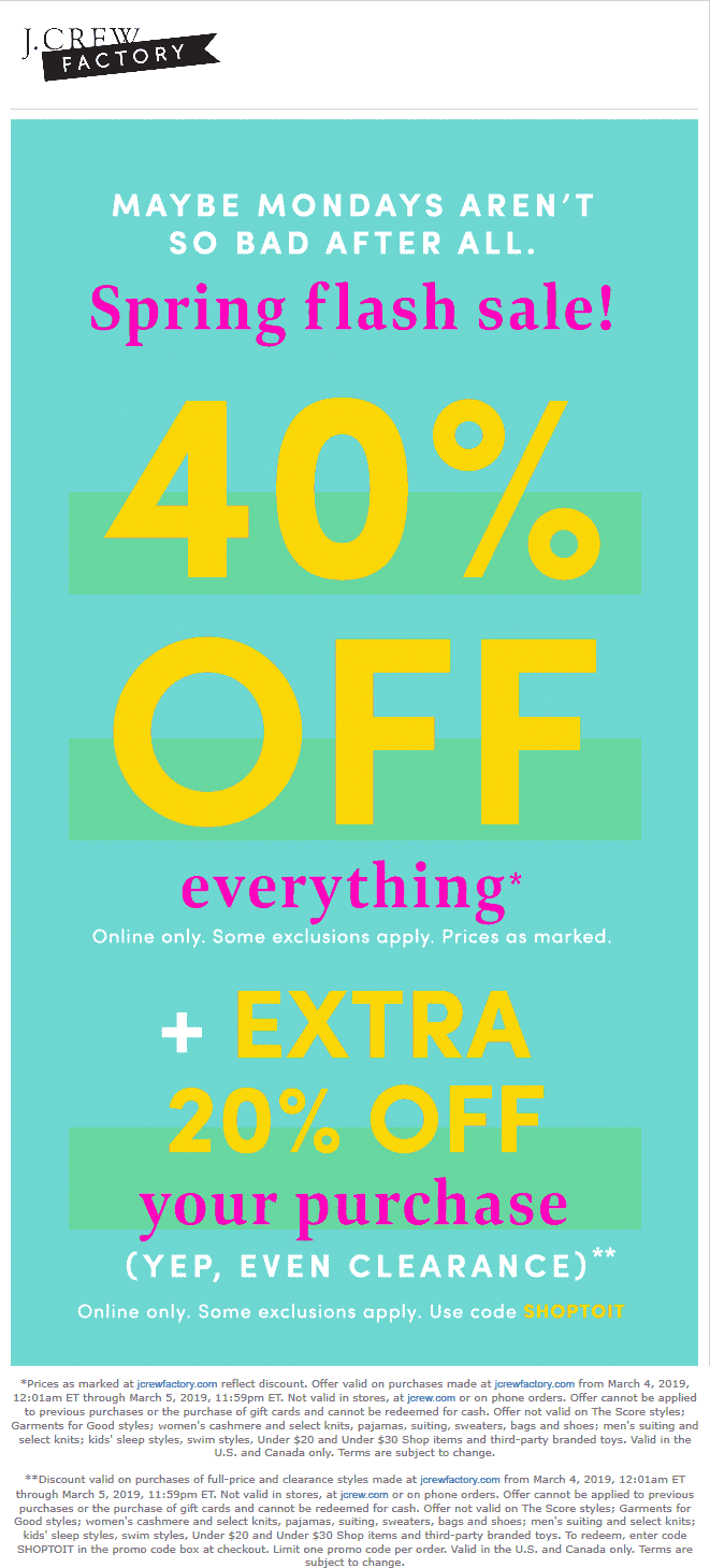 J.Crew Factory Coupon July 2019 60% off everything online at J.Crew Factory via promo code SHOPTOIT