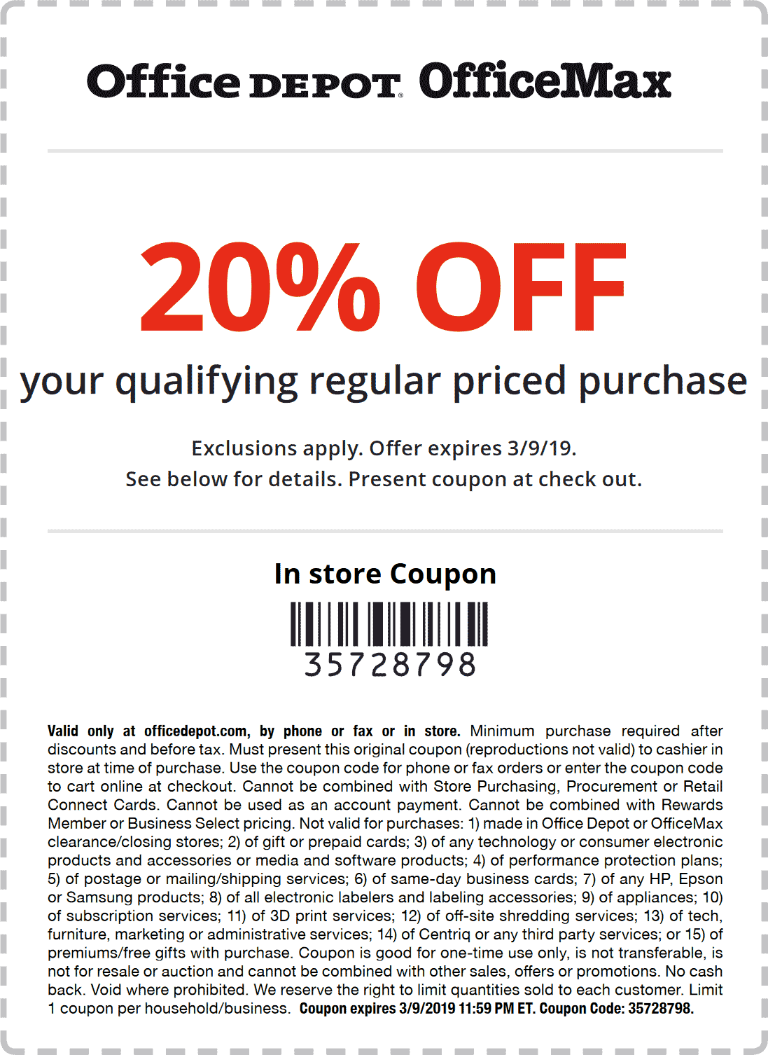 Office Depot Coupon October 2019 20% off at Office Depot & OfficeMax, or online via promo code 35728798