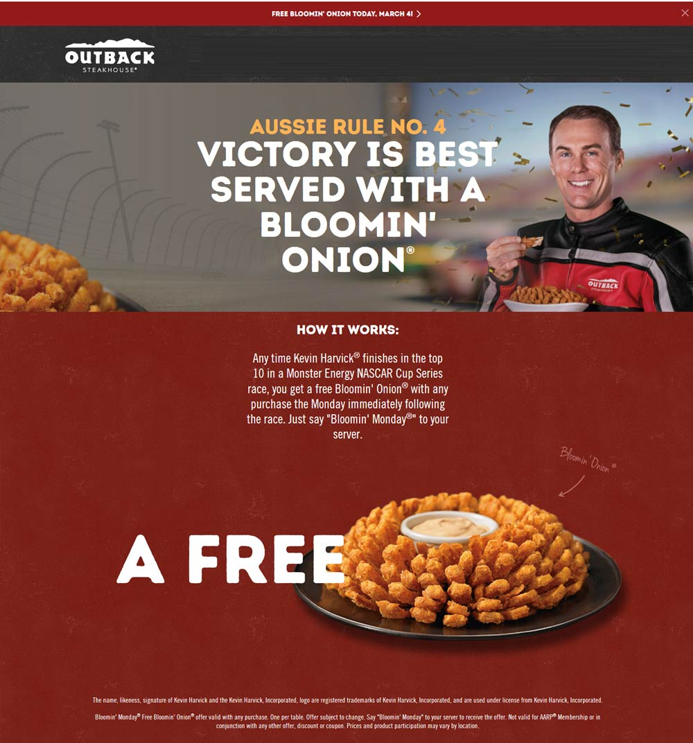 Outback Steakhouse Coupon October 2019 Free bloomin onion appetizer today at Outback Steakhouse