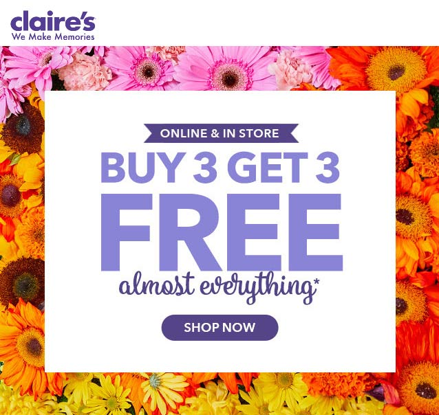 Claires Coupon May 2019 6-for-3 on everything at Claires, ditto online