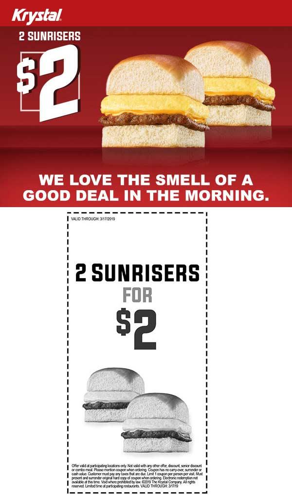 Krystal Coupon October 2019 2 sunriser sandwiches for $2 at Krystal