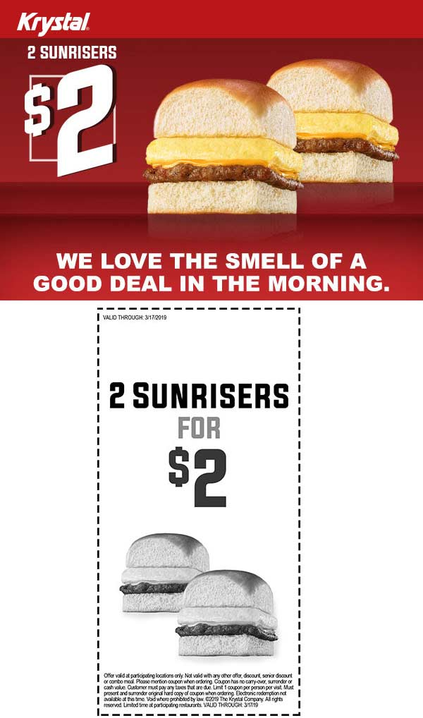 Krystal Coupon August 2019 2 sunriser sandwiches for $2 at Krystal