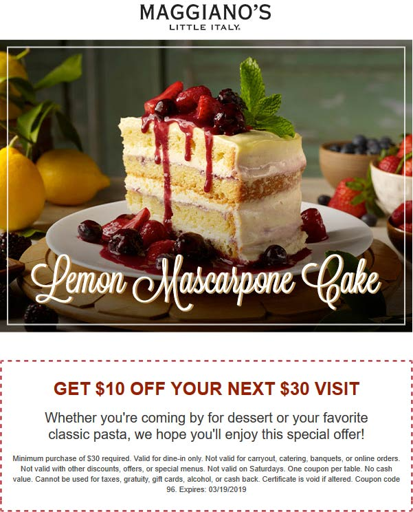 Maggianos Little Italy Coupon January 2020 $10 off $30 at Maggianos Little Italy restaurant
