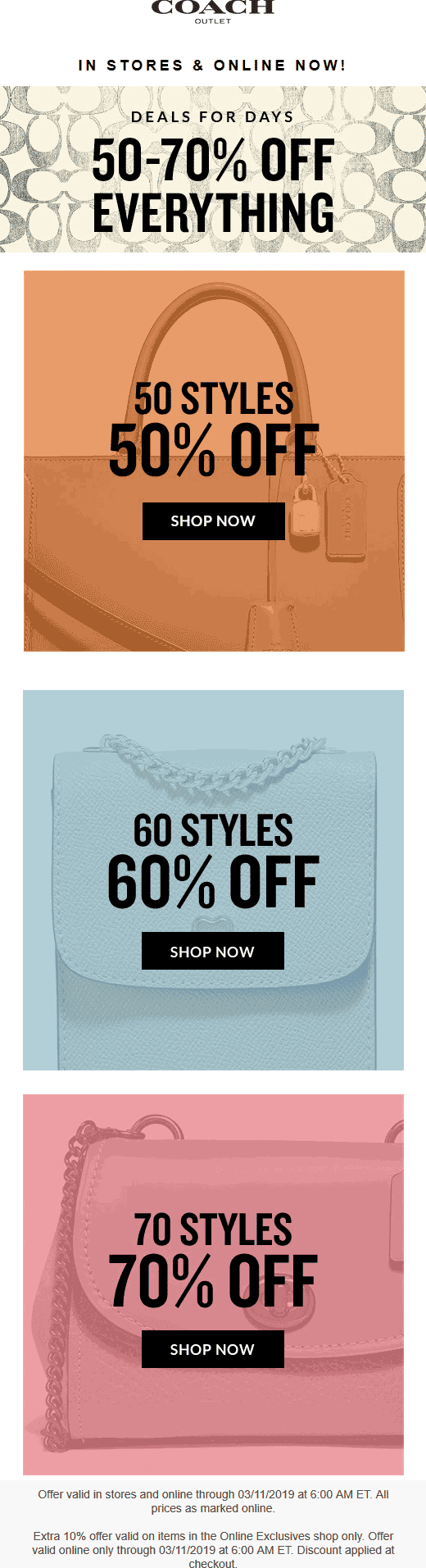 Coach Outlet Coupon June 2019 50-70% off everything at Coach Outlet, ditto online