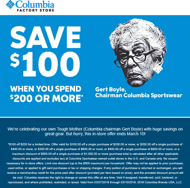 Columbia Factory Coupon September 2019 $100 off every $200 at Columbia Factory stores