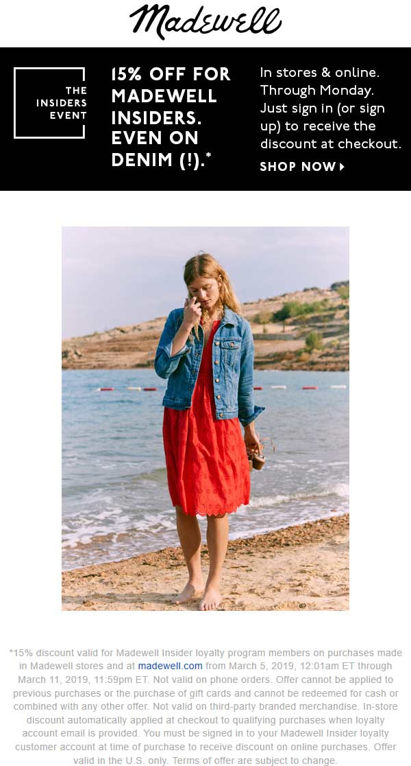 Madewell Coupon April 2019 15% off at Madewell, ditto online