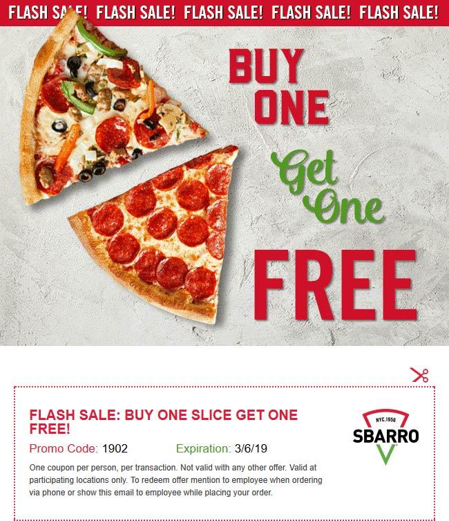 Sbarro Coupon January 2020 Second slice free today at Sbarro pizza