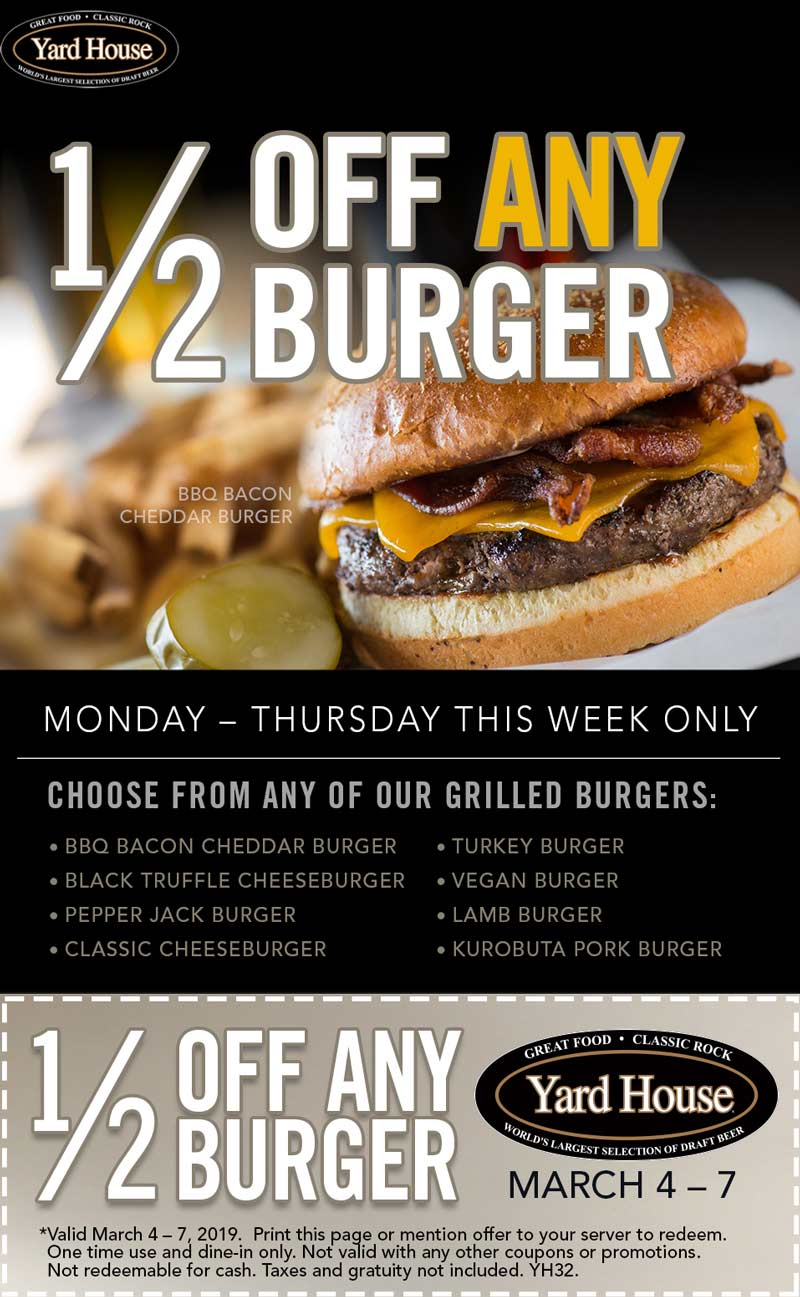 Yard House Coupon September 2019 50% off burgers at Yard House restaurants