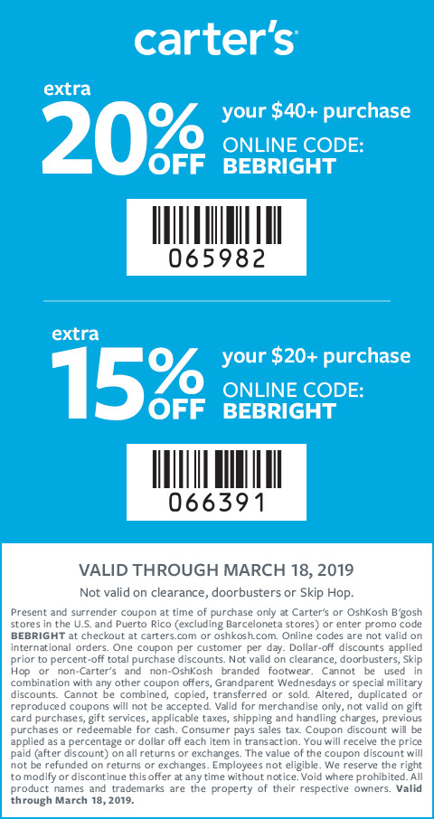 Carters Coupon October 2019 15-20% off at Carters, or online via promo code BEBRIGHT