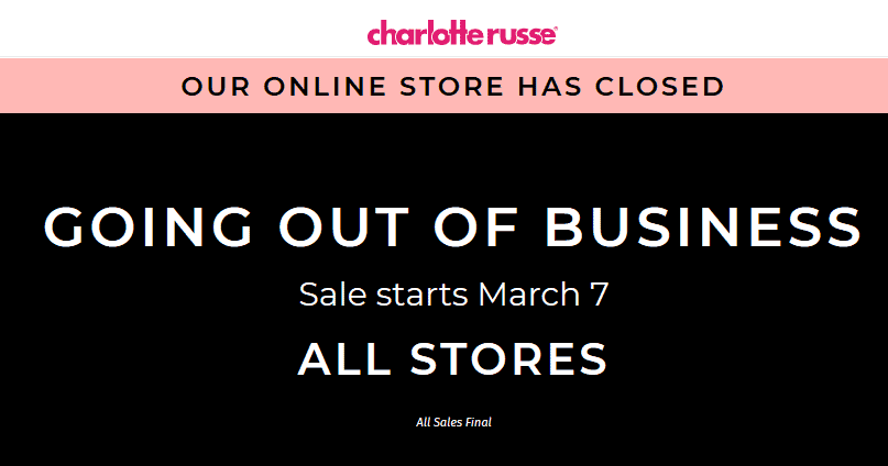 CharlotteRusse.com Promo Coupon Going out-of-business clearance going on at Charlotte Russe, online already offline