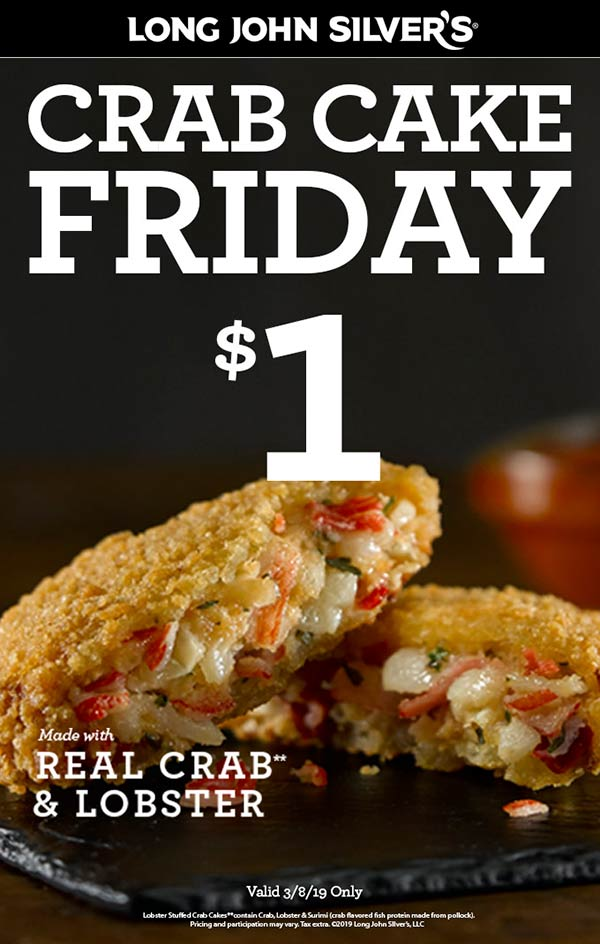 Long John Silvers Coupon September 2019 $1 crab cakes Friday at Long John Silvers