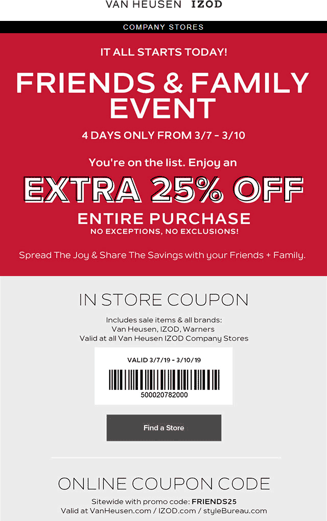 IZOD Coupon May 2019 Extra 25% off at Van Heusen & IZOD, or online via promo code FRIENDS25