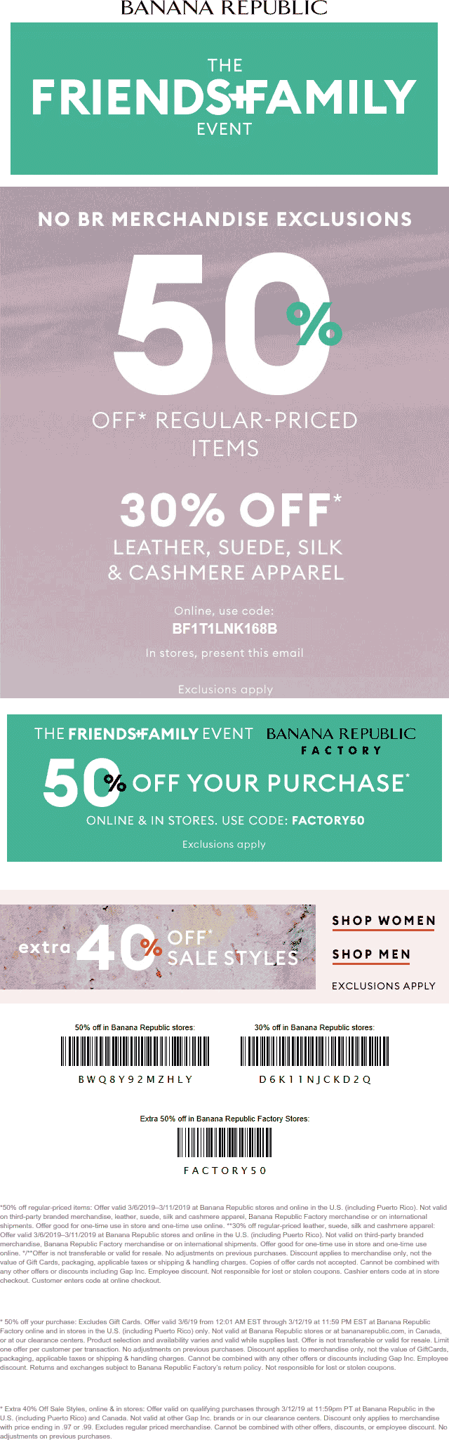 Banana Republic Coupon July 2019 50% off at Banana Republic & factory locations, or online via promo code BF1T1LNK168B