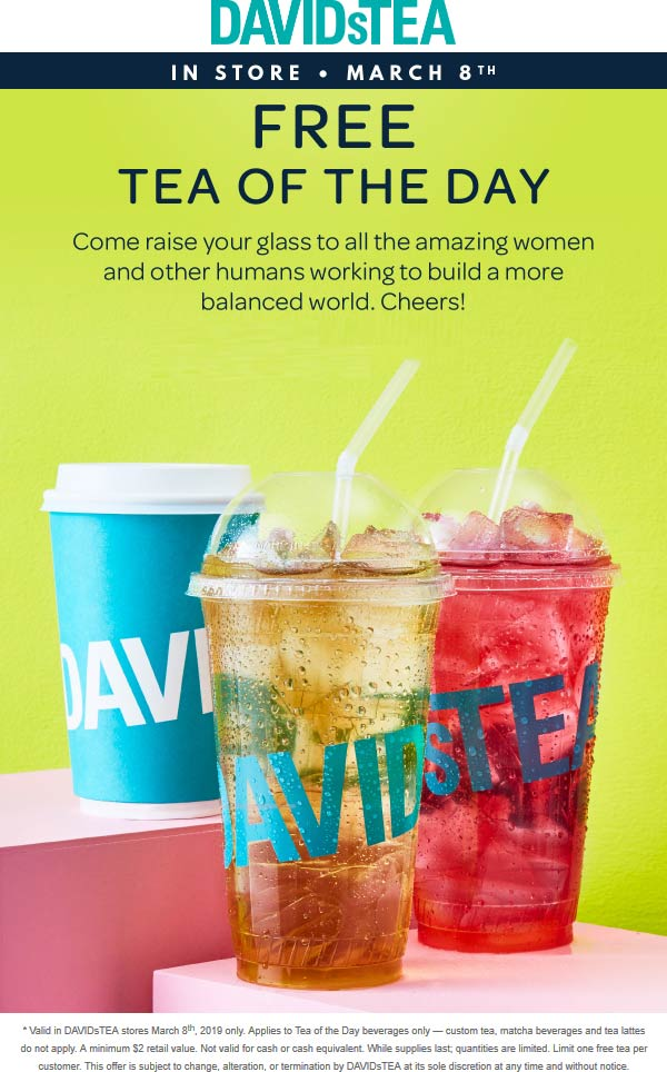 DAVIDsTEA Coupon August 2019 Free tea today at DAVIDsTEA