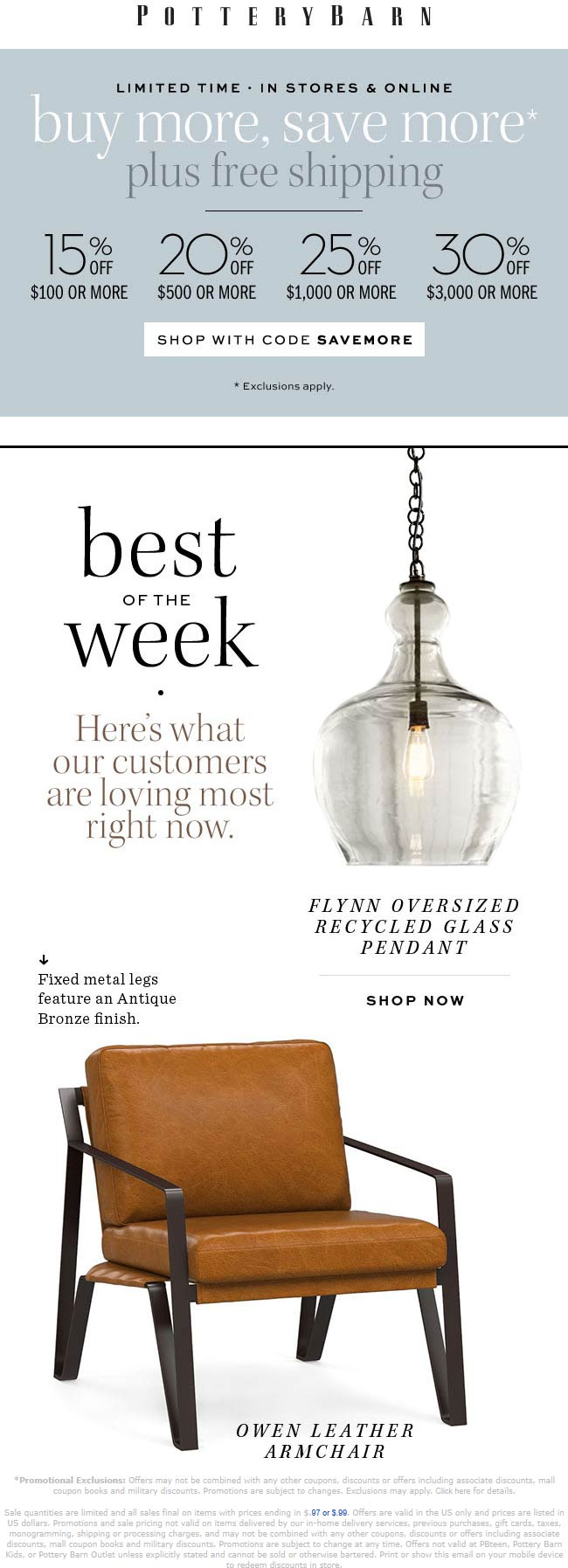 Pottery Barn Coupon July 2019 15-30% off at Pottery Barn, or online via promo code SAVEMORE