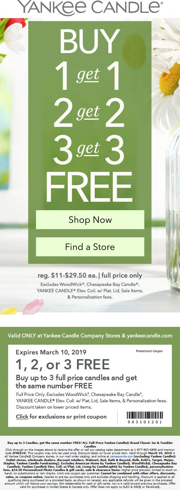Yankee Candle Coupon November 2019 Second candle free at Yankee Candle, or online via promo code 3FREE19