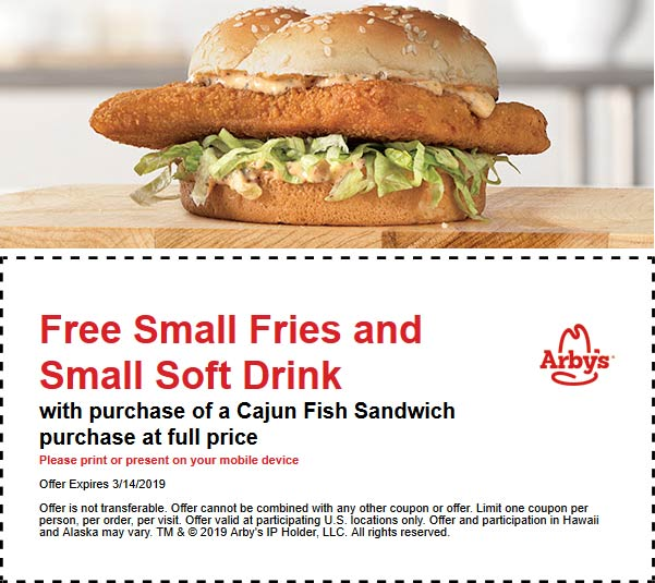 Arbys Coupon July 2019 Free fries & drink with your cajun fish at Arbys