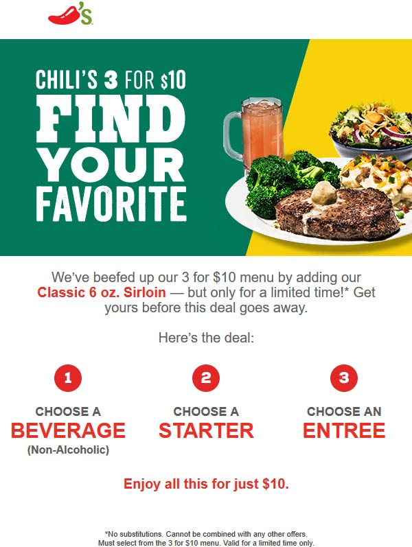 Chilis.com Promo Coupon Steak + appetizer + drink = $10 at Chilis