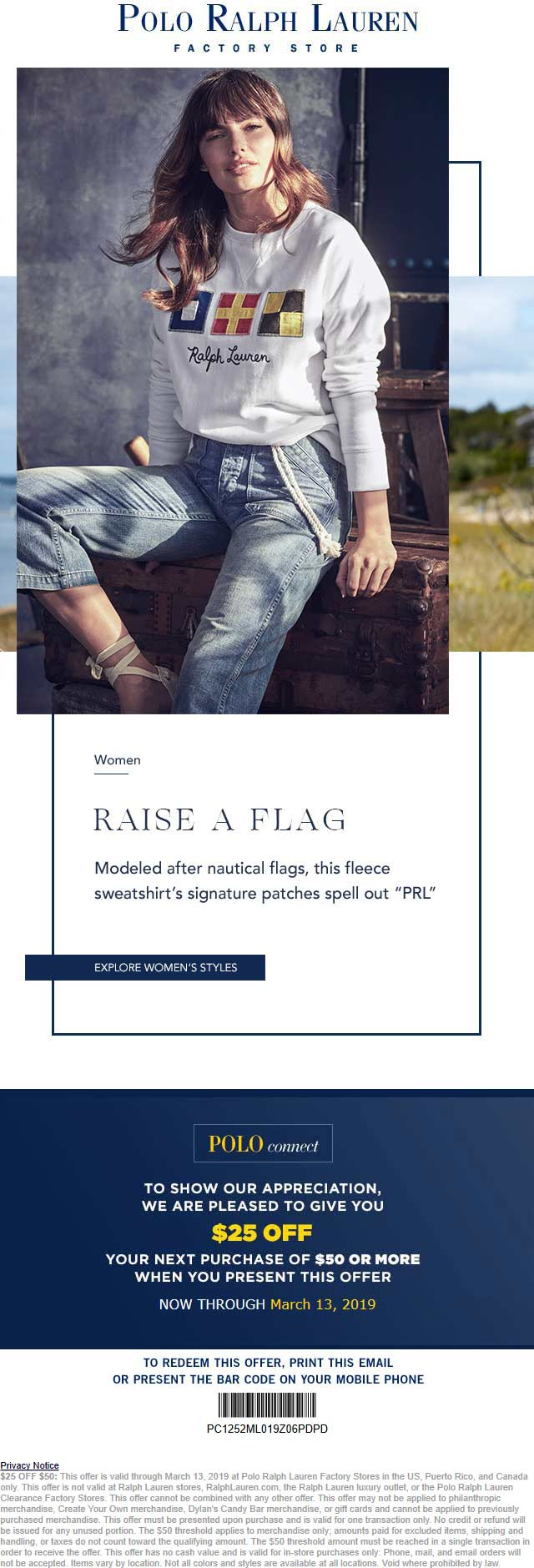 Polo Ralph Lauren Factory Coupon August 2019 $25 off $50 at Polo Ralph Lauren Factory