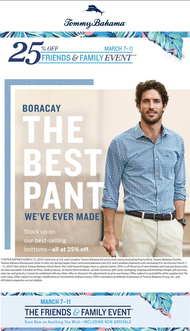Tommy Bahama Coupon July 2019 25% off at Tommy Bahama, ditto online