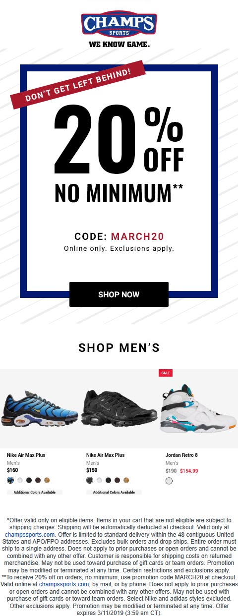 Champs Sports Coupon May 2019 20% off online today at Champs Sports via promo code MARCH20