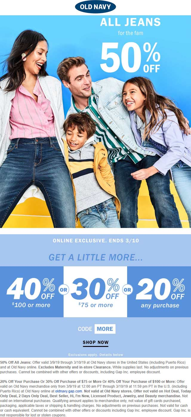Old Navy Coupon July 2019 50% off jeans today at Old Navy, ditto online