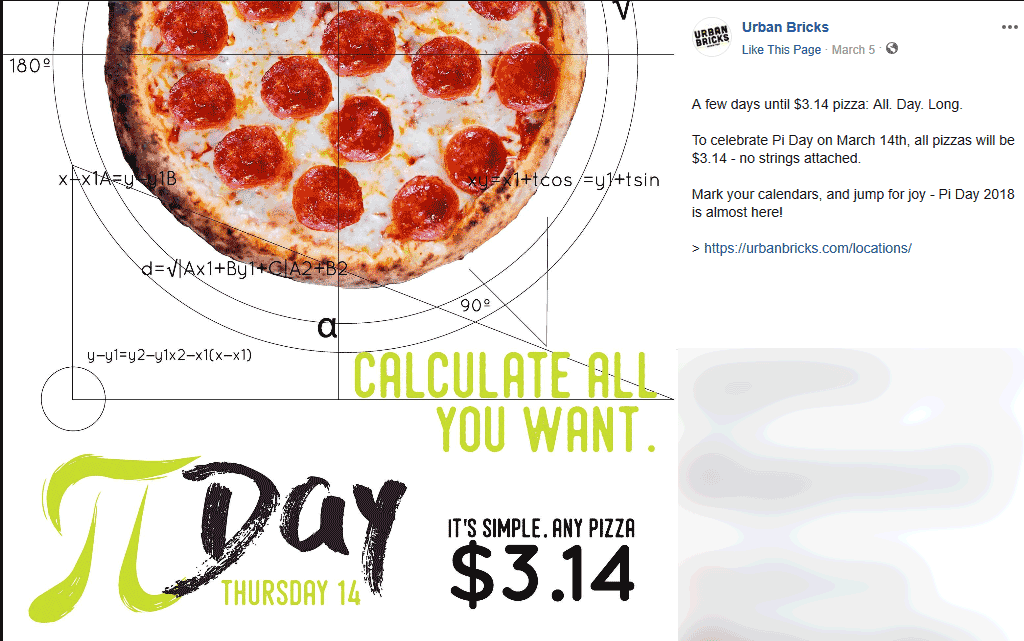 Urban Bricks Coupon November 2019 $3.14 pizza Thursday at Urban Bricks restaurants