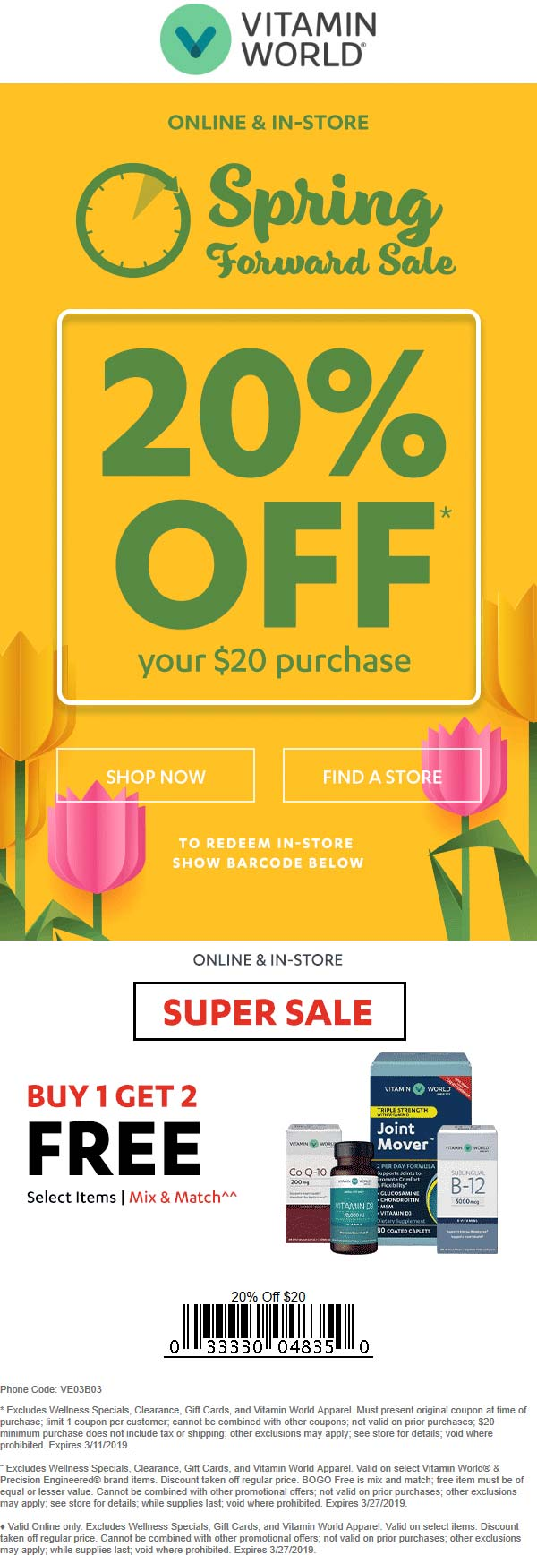Vitamin World Coupon July 2019 20% off $20+ at Vitamin World, or online via promo code VE03B03
