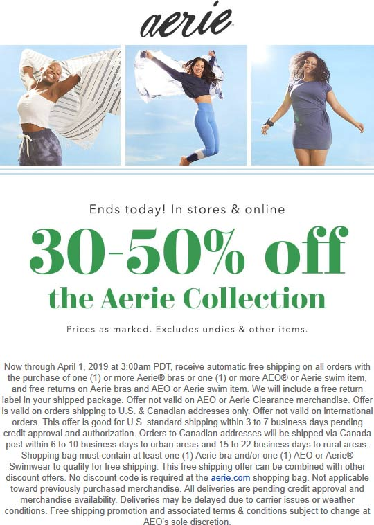 Aerie Coupon August 2019 30-50% off the collection today at Aerie, ditto online