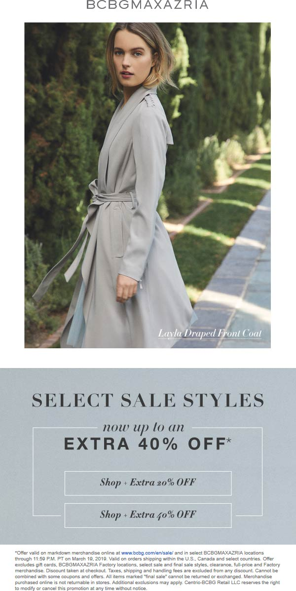 BCBG Coupon August 2019 Extra 20-40% off sale items at BCBGMAXAZRIA, ditto online