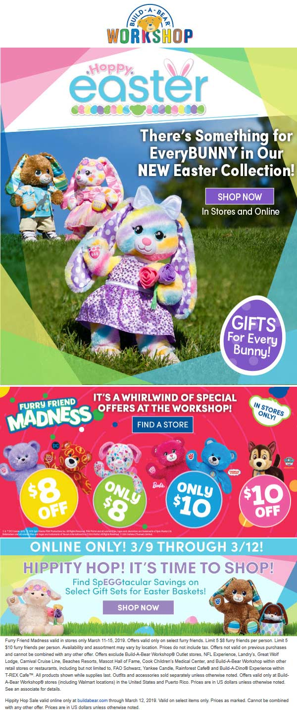Build-A-Bear Coupon August 2019 $8-$10 off furry friends at Build-A-Bear workshop