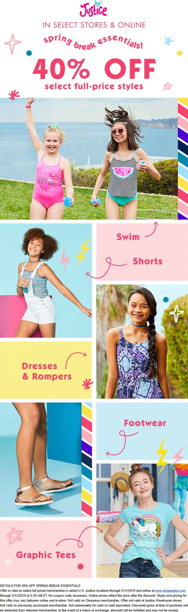 Justice Coupon April 2019 40% off spring break essentials today at Justice, ditto online