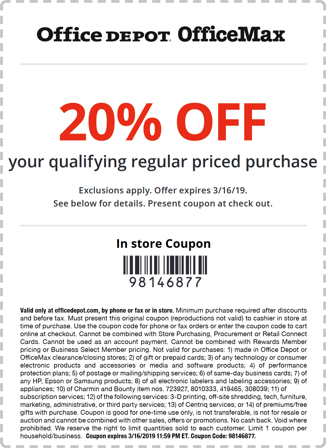 Office Depot Coupon November 2019 20% off at Office Depot, or online via promo code 98146877