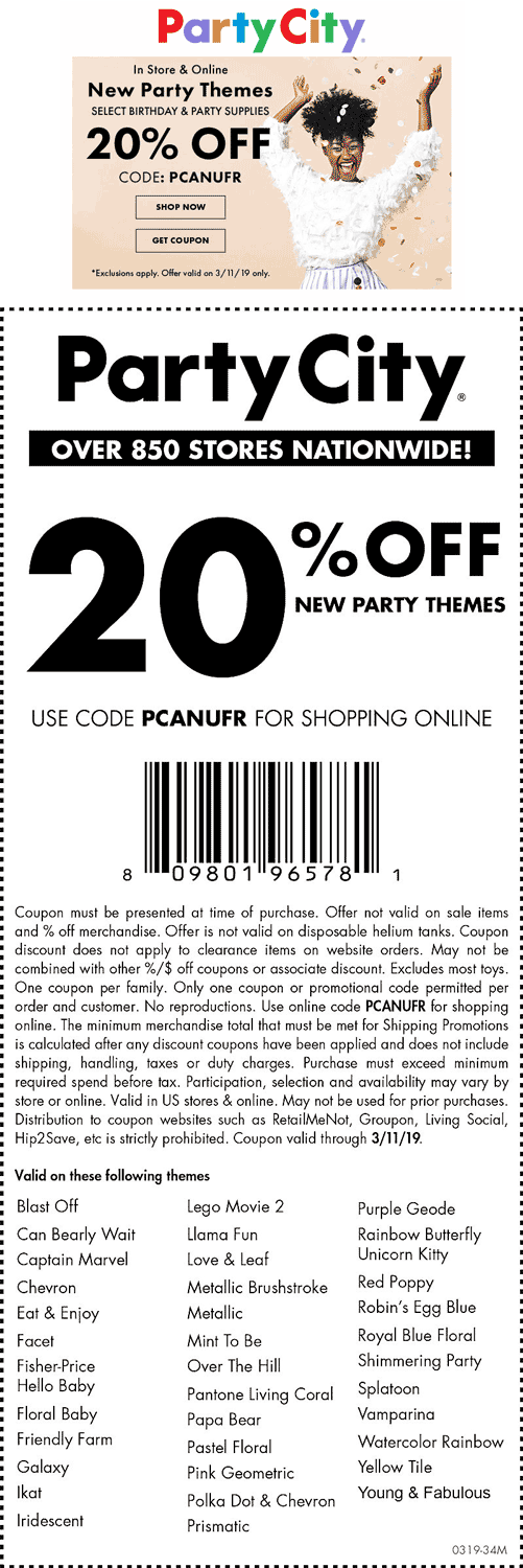 PartyCity.com Promo Coupon 20% off new party themes today at Party City, or online via promo code PCANUFR