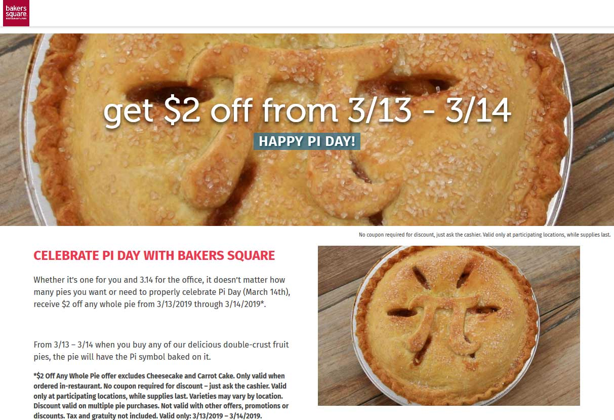 Bakers Square Coupon April 2019 $2 off pie at Bakers Square restaurants