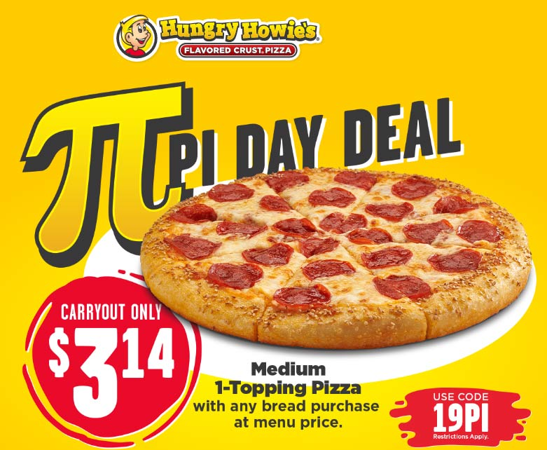 Hungry Howies Coupon January 2020 $3.14 carryout pizza at Hungry Howies via promo code 19PI