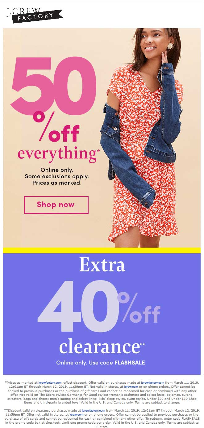 J.Crew Factory Coupon July 2019 50% off everything online today at J.Crew Factory via promo code FLASHSALE