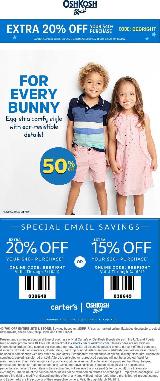OshKosh Bgosh Coupon July 2019 20% off $40 at OshKosh Bgosh, or online via promo code BEBRIGHT