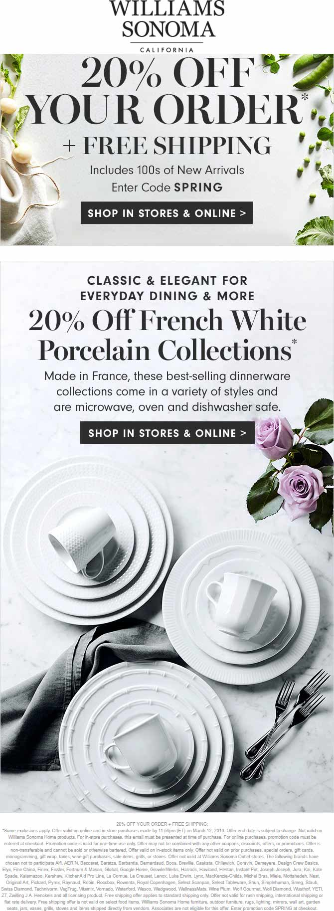 WilliamsSonoma.com Promo Coupon 20% off today at Williams Sonoma, ditto online