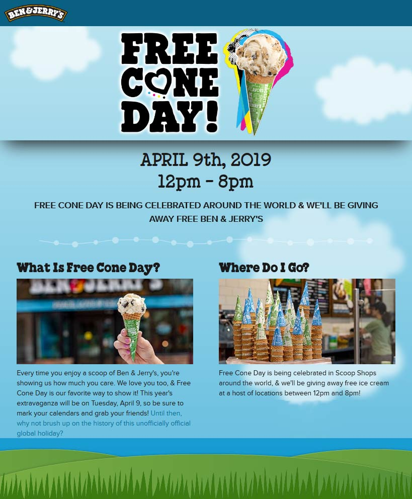 Ben&Jerrys.com Promo Coupon Free cone day the 9th at Ben & Jerrys ice cream